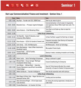 Tech Connect Live Seminar Area 1 Timetable