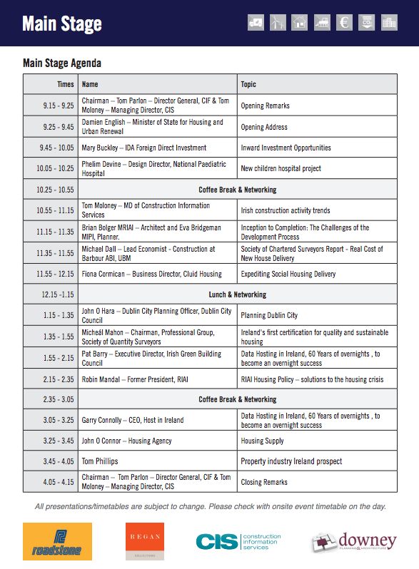 National Construction Summit 2016 - Main Stage Agenda